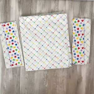 Vintage 80's Sears Heart Grid Sheet and Pillowcase